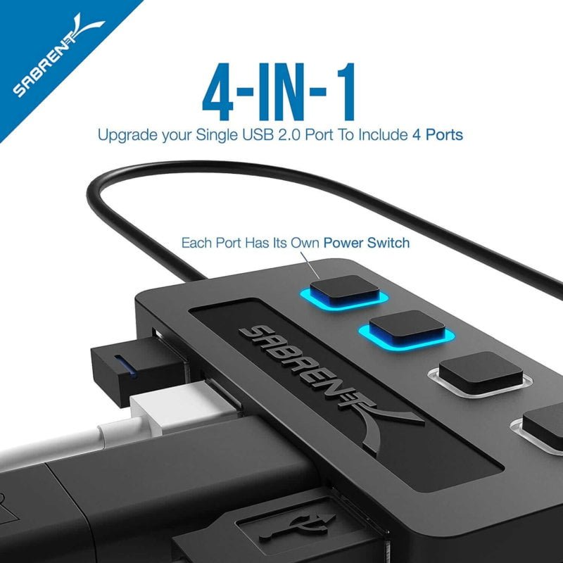 Adaptador USB, 4 puertos con switches  individuales